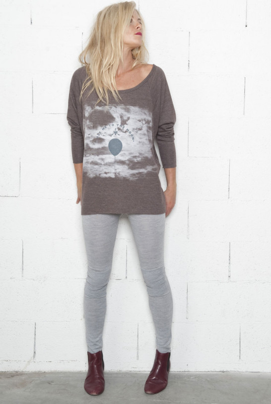 Tee-shirt manches longues taupe col bateau