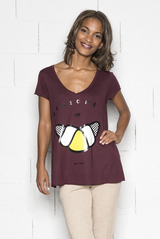 Tee-shirt femme bordeaux imprimé New-york